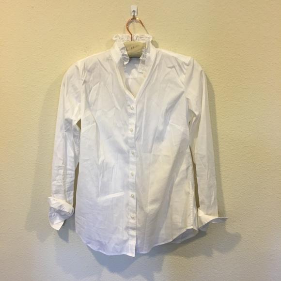 37235dd45 Ann Taylor Tops | White Ruffle Collar Button Down Shirt | Poshmark